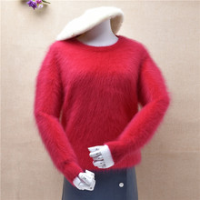 top mujer female christmas red o-neck mink cashmere knitted long sleeves slim pullover angora rabbit hair winter jumper sweater(China)