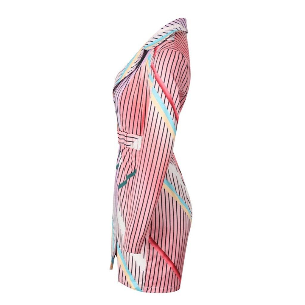Модный костюм, женское платье-Блейзер, сексуальное зимнее платье с v-образным вырезом, в полоску, рукав три четверти, мини платье, вечерние пл...