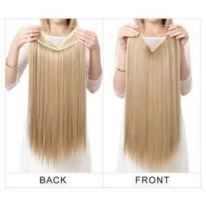 Image 4 - SARLA Halo שיער הארכת אין קליפ בלתי נראה חוט סינטטי Ombre טבעי מזויף ארוך ישר שווא פיסת שיער פאה לנשים