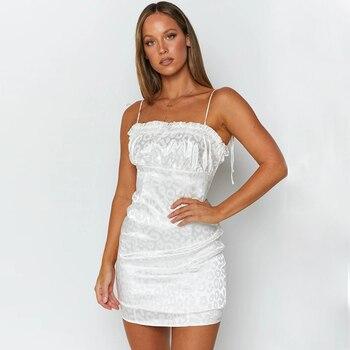 Vestido Corto femenino de verano blanco con escote para mujer, minivestido Sexy...