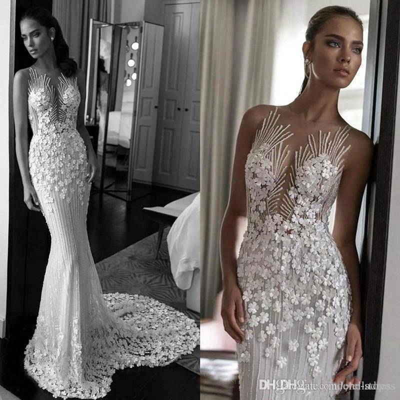 Eleagnt Lace Appliqued Wedding Dress Luxury 3D Flowers Sheer Back Beach Boho Bridal Gown Custom Made BC2112