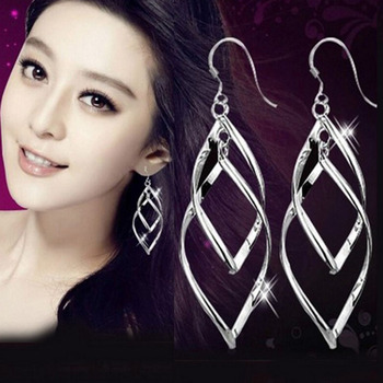 Japan and South Korea Fashion Explosion Style Temperament Fresh Joker Twisted Double Layer Earrings Wholesale 1