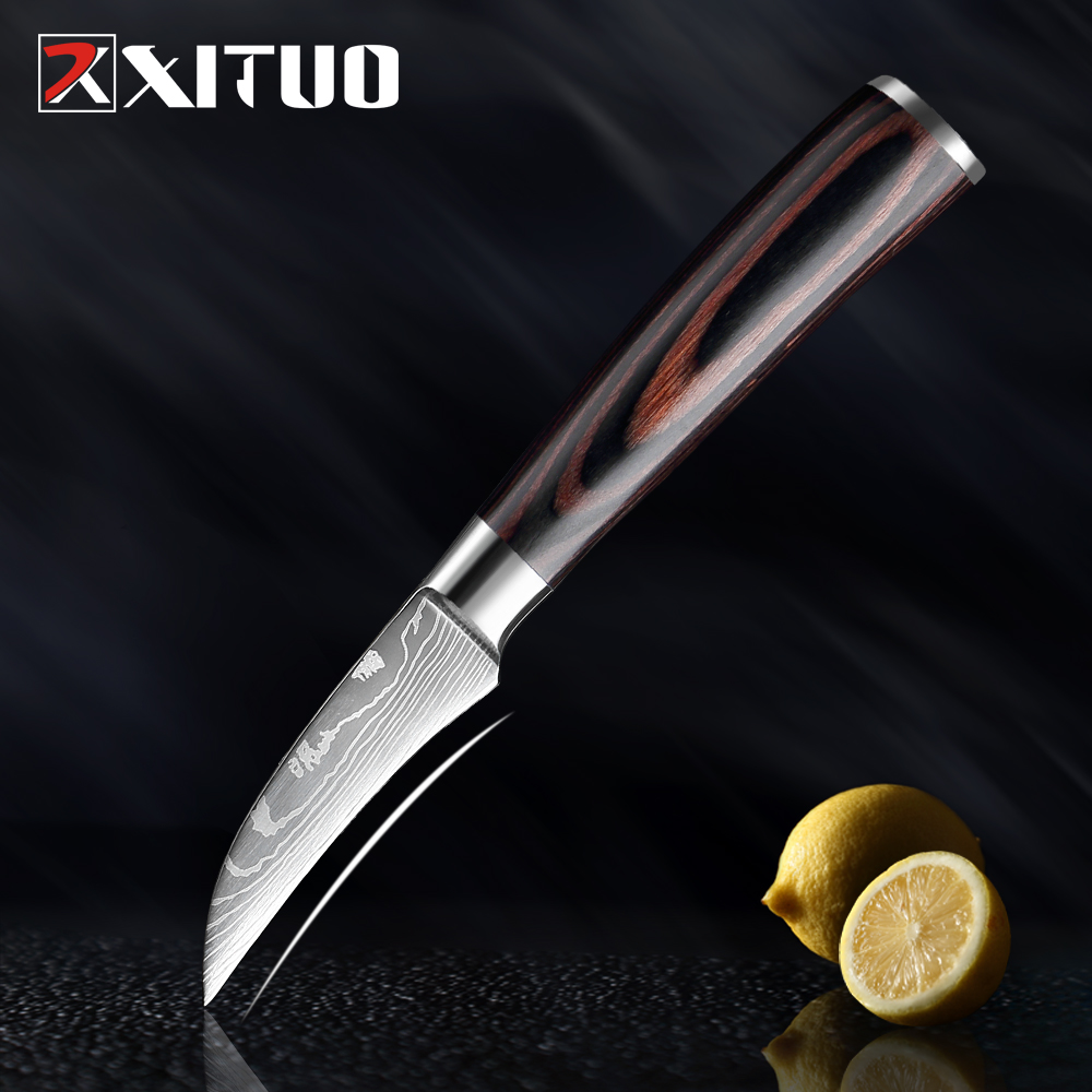 XITUO 3.5 Inch Kitchen Chef Knife Fruit Knife 7Cr173 Stainless Steel Laser Damascus Pattern Colored Wooden Handle Kitchen Knife