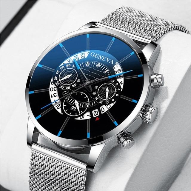 Stainless Steel Calendar Quartz Wristwatch 6