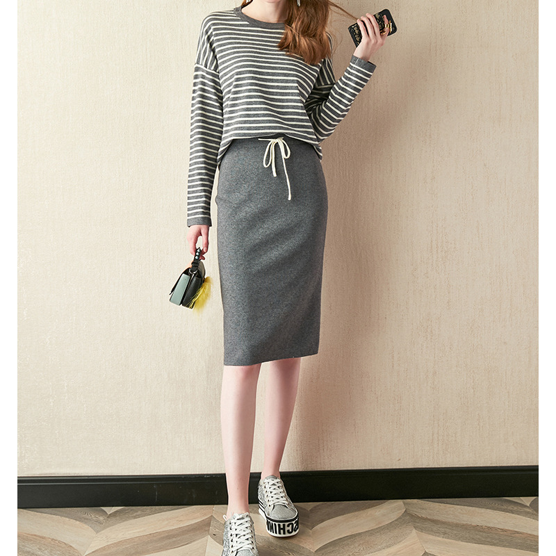 Knitting Suit Stripes Loose-Fit Crew Neck Hoodie With Sleeves + Lace-up Waist Hugging Skirt Women's 2019 Early Autumn New Style