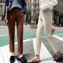 Осенние новые женские эластичные шерстяные брюки для женщин размера плюс повседневные брюки черные/серые шаровары зимние шерстяные брюки длиной до щиколотки