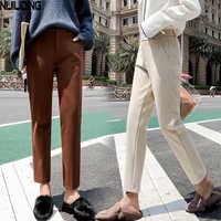 2019 Осенние новые женские эластичные шерстяные брюки для женщин размера плюс повседневные брюки черные/серые шаровары зимние шерстяные брю...