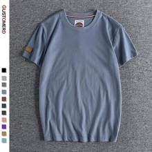 GUSTOMERD New Summer 100% Cotton T Shirt for Men Casual O-neck T-shirt Men High Quality Soft Feel Home and Daily Men's T Shirts