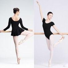 Kadın bale Leotard yetişkin bale giyim kısa kollu Bodysuit pamuk Spandex dans elbise balerin