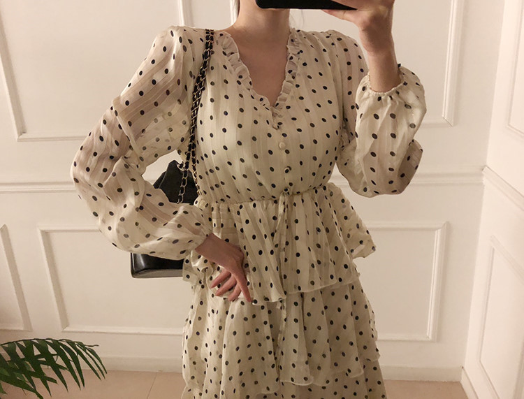 Hbe220a13e7514f82b308390b5fd01b24k - Autumn V-Neck Long Sleeves Satin Polka Dots Multi-Layers Midi Dress