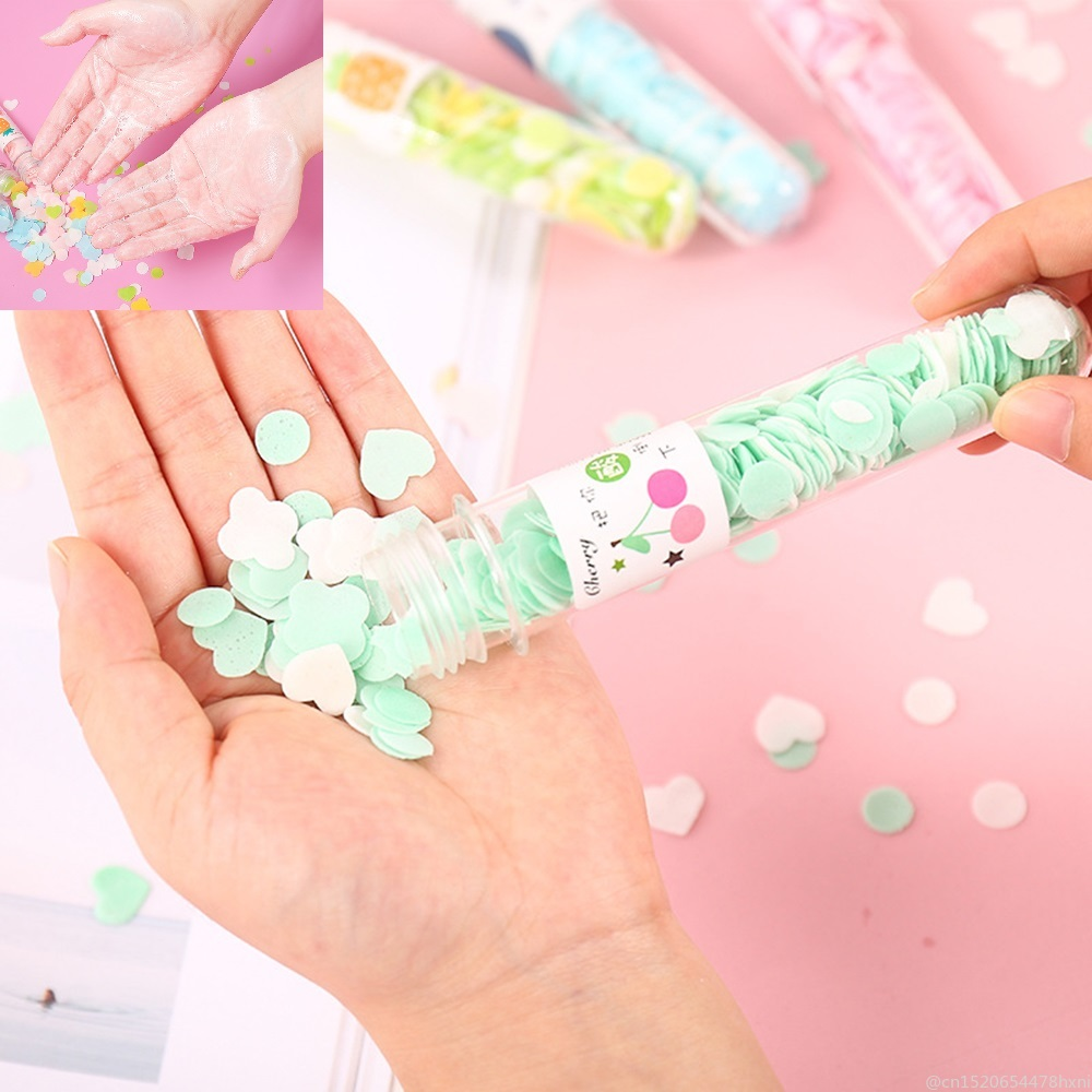 Outdoor Portable Body Hand Washing Bath Confetti Dish Foaming Flower Paper Soap Slice Case For Travel Cleaning TSLM1
