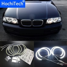 HochiTech for BMW E46 NON PROJECT Coupe Sedan Ultra bright SMD white LED angel eyes 2600LM halo ring kit day light 131mm+146mm(China)