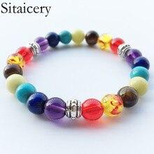 Sitaicery Health 7 Chakra Bracelet Jewelry Handmade Colorful Natural Stone Men Bead Women Dropshipping
