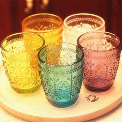 Colorful Juice Cup Vintage Glass Relief Milk Cup Mug Fashion Birthday Present Wedding Gifts Bathroom Tumblers Tooth Washing Cup