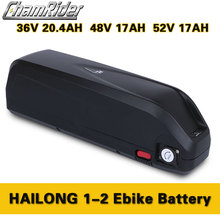 Chamrider Original Hailong Battery Downtube 36V 48V 52V 20A 30A 40A BMS 350W 500W 750W 1000W 1500W 18650 Cell BBS02 BBSHD bafang us eu no tax 48v 13ah 750w lithium ion bottle ebike battery pack with charger fit bafang bbs02 750w with 20a bms and 2a charger