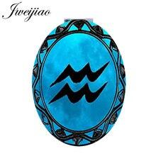JWEIJIAO 12 constelación logotipo ovalado espejo de bolsillo vintage Aries Tauro Gemini salud lupa espelho para fans d1148