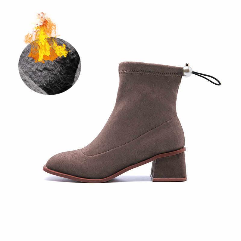 Fujin streç çizmeler kadın bahar sonbahar çorap akın deri kare med topuk çizmeler kadınlar için kadın bayanlar bağcıksız ayakkabı patik