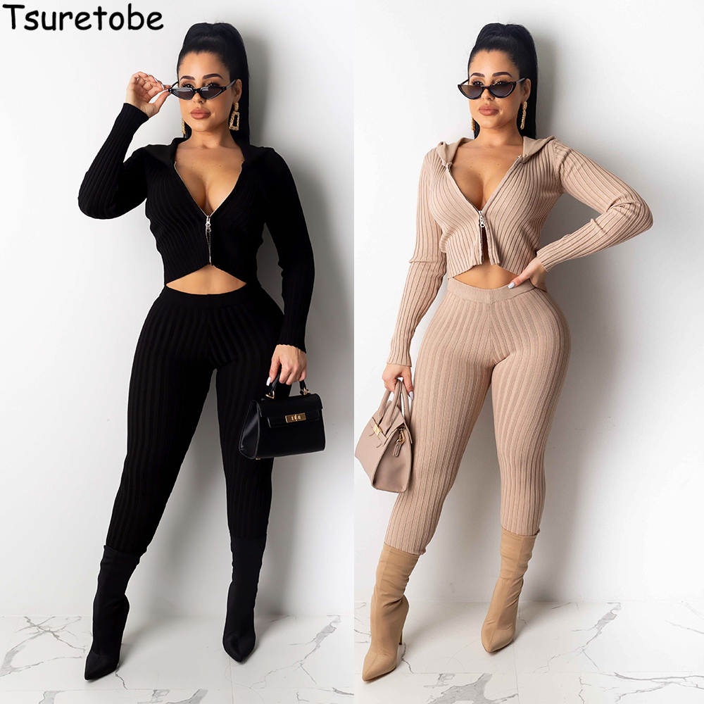 Tsuretobe Autumn Tracksuits Women Two Piece Set Ribbed Long Sleeve Hooded Crop Jacket And Pencil Pants Sexy Knitted Outfits