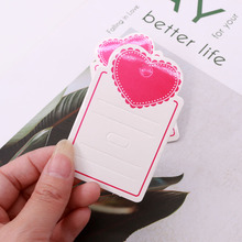 Cute 100pcs/lot 8*5cm Hair Clip Jewelry Display Card Pink Love Heart Paper Hair Accessories Tags Cards Hanger Logo Customized
