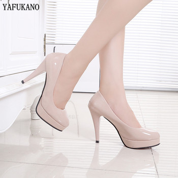 2020 Autumn New Round Head Womens Shoes Work Shoes Waterproof Platform White Leather Shoes High Heels Stiletto 10 Cm Single Shoe
