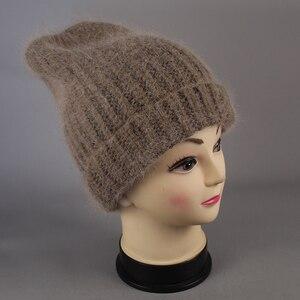 Image 5 - חדש פשוט ארנב פרווה כפת כובע לנשים חורף Skullies חם צמר כובע Gorros נשי כובע נשים סרוג חורף כובע