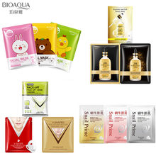 10Pcs BIOAQUA 24K gold face mask Cartoon snail Anti-Aging Moisturizing Oil-control Collagen facial masks v shape  skin care