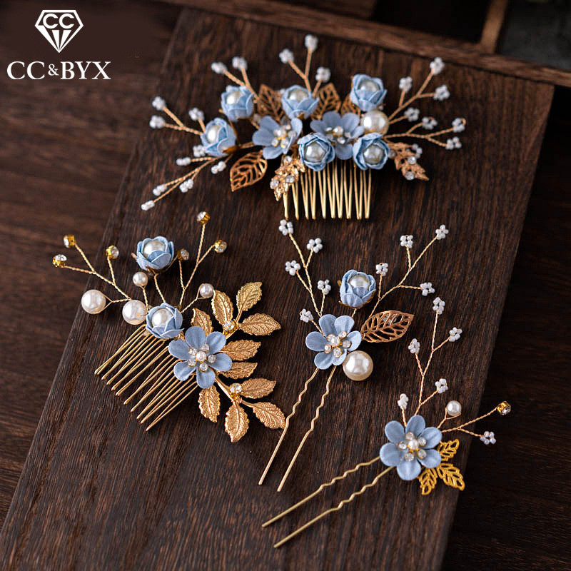 CC Hair Stick Barrettes Hairgrips 4pcs sets Combs Wedding Hair Accessories For Women Forest Style Flower Hairpins Hairwear M110