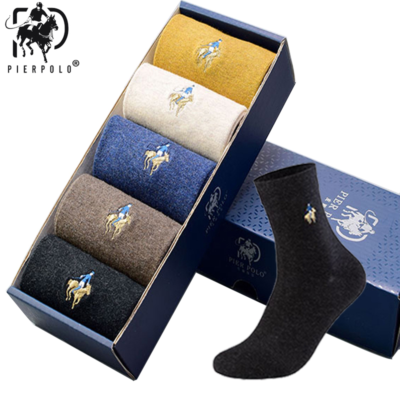 5Pairs/lot PIERPOLO Brand Men Socks Meias Male Winter Warm Socks Cotton Embroidery High Quality Mens Dress Socks For Gifts 2019