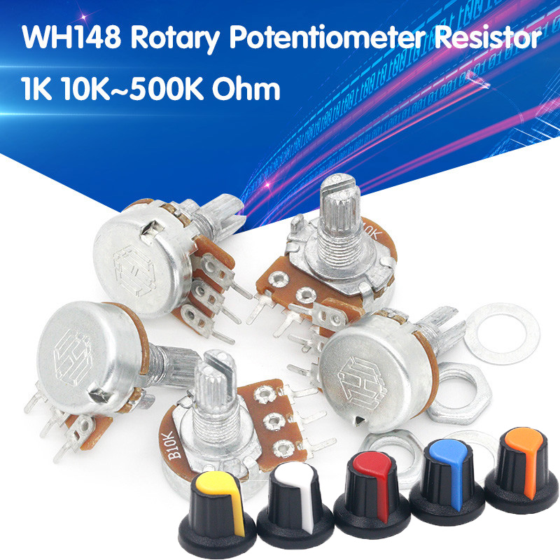 5pcs/lot WH148 1K 10K 20K 50K 100K 500K Ohm 15mm 3 Pin Linear Taper Rotary Potentiometer Resistor for Arduino with AG2 White cap