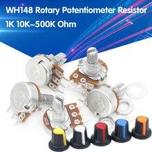 5 шт./лот WH148 1-10K 20K 50K 100K 500K Ohm 15 мм 3 штифта линейный подшипник с коническим поворотный потенциометр резистор для Arduino с AG2 белый колпачок