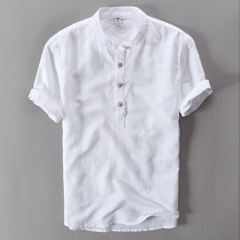 2019 New Summer Brand Shirt Men's Short Sleeve Loose Thin Cotton Linen Shirt Men's Fashion Solid Color