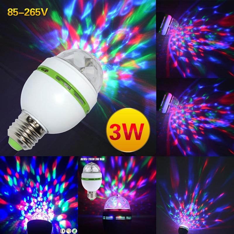 E27 AC85V-265V Wide Voltage LED Stage Lighting Lamp Bulbs Party Lights 3W Colorful Bulb DJ Light Show RGB Auta Rotating Bulb D30