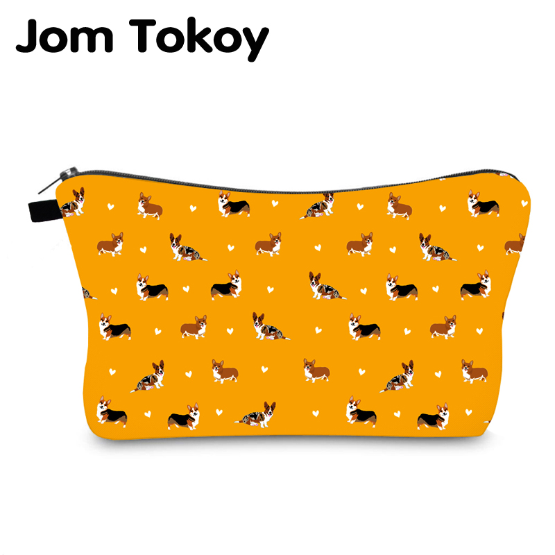 Jomtokoy Corgi Printing Waterproof Cosmetic Bag Pouches For Girl Gift Cute Makeup Bag