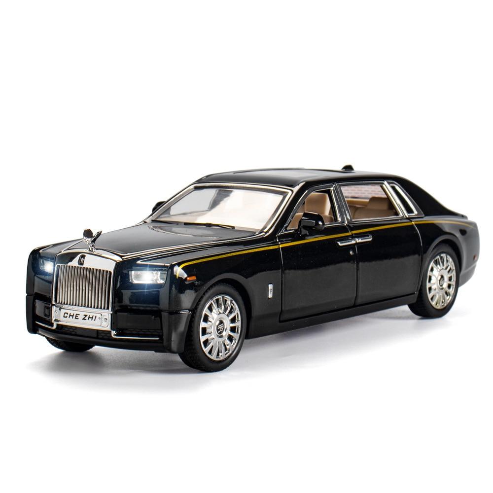 1:24 литая под давлением модель автомобиля Rolls Royce Phantom металлическая игрушечная машинка на колесах, моделирующий звуковой светильник, детска...