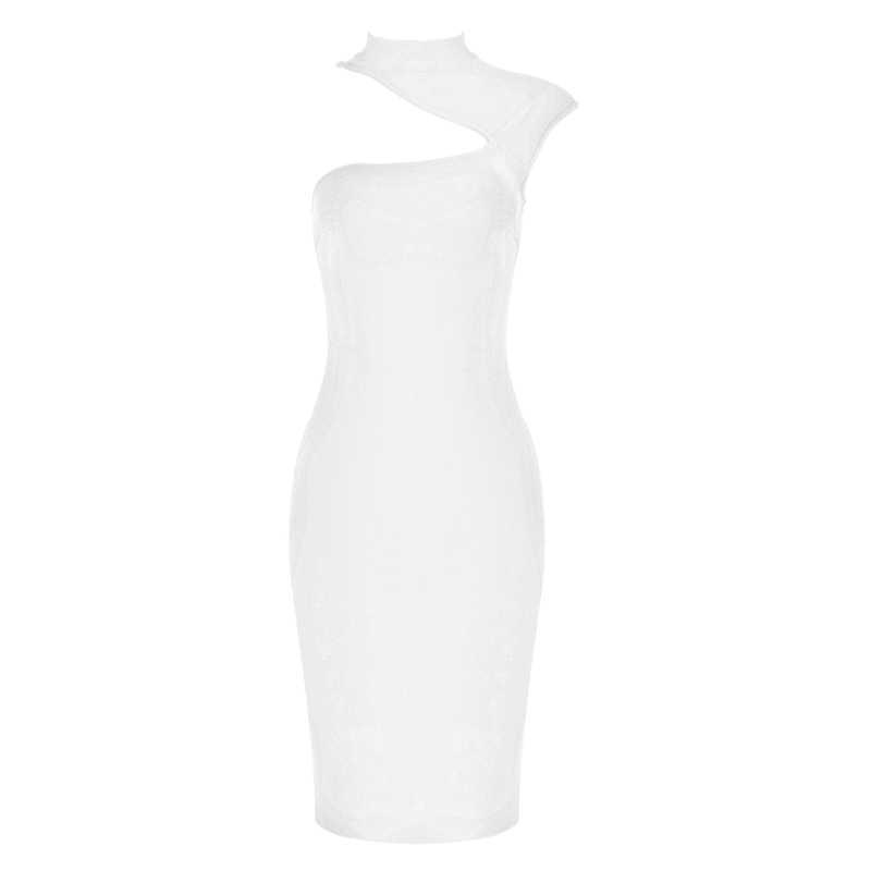 Однотонное женское летнее сексуальное водолазка оранжевое белое Бандажное платье 2019 дизайнерское модное вечернее платье Vestido