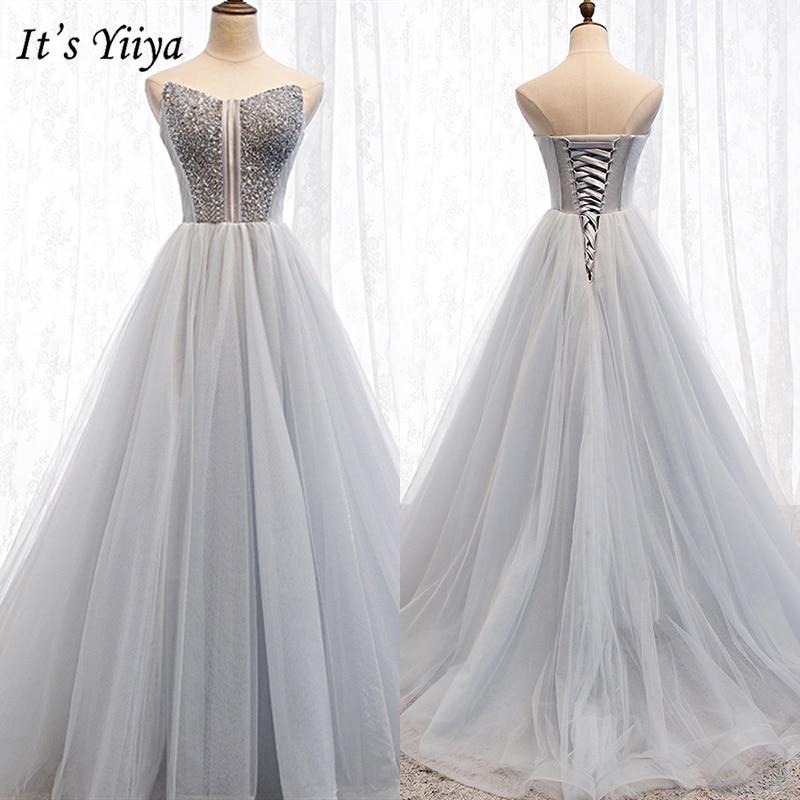 It's Yiiya Evening Dress 2019 Grey Sleeveless Strapless Sequin Ball Gown Elegant Slim Formal Party Dresses Custom Plus Size E937