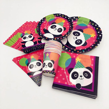 Lovely Panda Popcorn Box Cup Flag Plate Pennant Panda Disposable Tableware ForKids Holiday