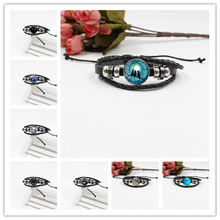 2019 new crystal glass blue moon and cat silver river round bracelet jewelry