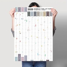 MissYe Store 2020 year 365days table laminated wall calendar sticker creative  time control daily weekly monthly planner