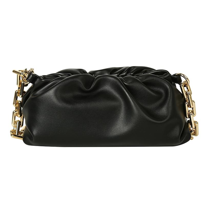 2020 Day clutch thick gold chains dumpling Clip purse bag women cloud Underarm shoulder bag pleated Baguette pouch totes handbag 4.7 6