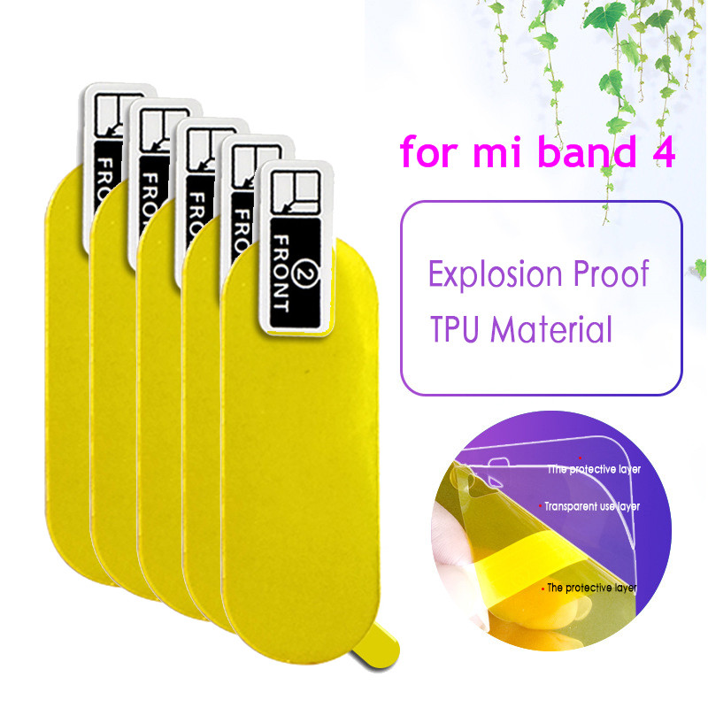 5pc Protective Film For Mi Band 4 Smart Wristband Full Screen Protector Hydrogel Film For Xiaomi Bracelet Smart Accessories