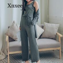 Loose suspenders comfortable solid color thermal  sleepwear 2020  vest  summer modal vest+pants+cardigan 3 pieces set women modal comfortable and breathable backing dress summer pure color loose sleeveless vest spadhetti plus size camisole dress women