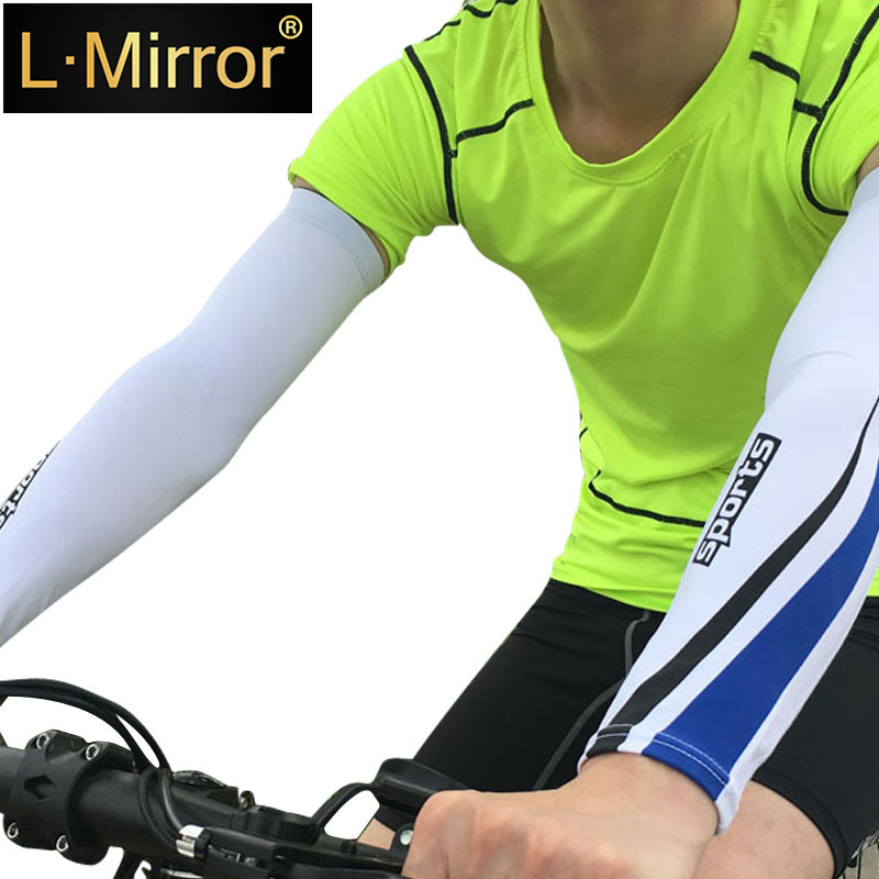 L.Mirror 1Pair Anti-UV Sun Protection Arm Compression Sleeves Stretchy Breathable Anti-slip Basketball Shooter  Football Running