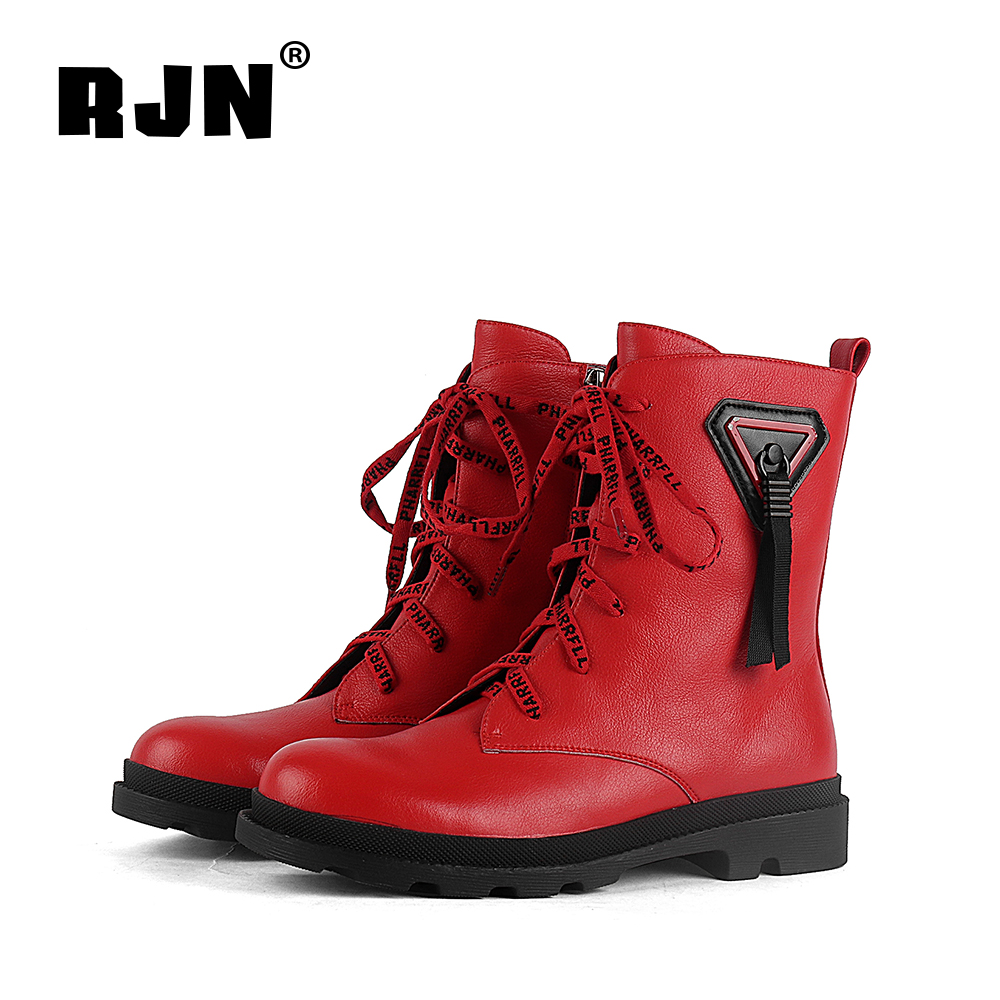 Hot Sale RJN Fashion Ankle Boots Unqie Design Lace Decoration Comfortable Round Toe Low Heel Casual Shoes Zipper Women Winter Boots R11