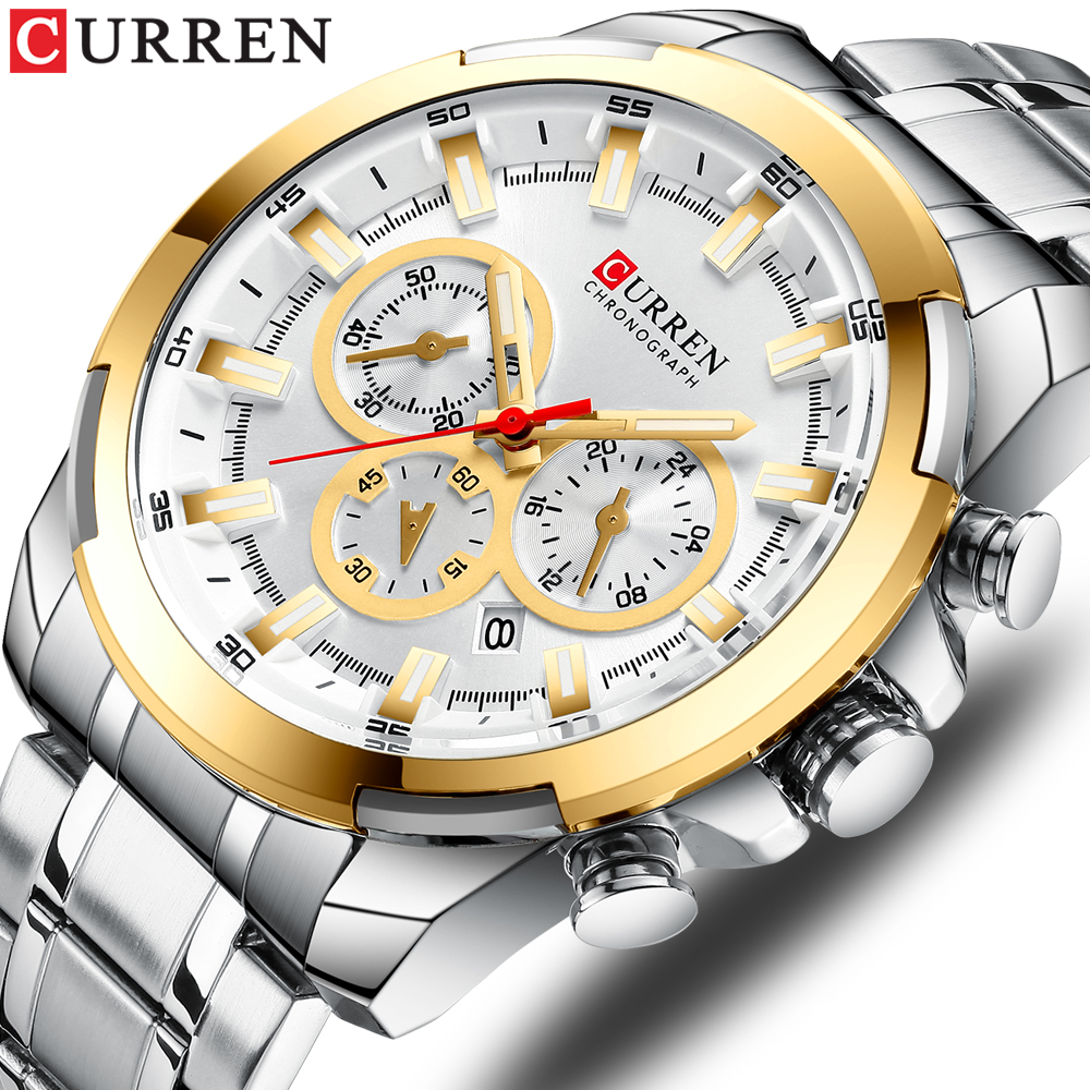 CURREN New Stainless Steel Men's Watch 2019 Fashion Chronograph Watches Casual Sports Wristwatch Mens Clock Reloj Multifuncion