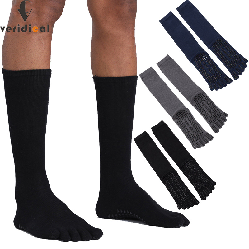 VERIDICAL Large Size Cotton Five Finger Socks Man 3 Pairs/lot Solid Non-slip Athletic Business Party Dress Crew Toe Socks