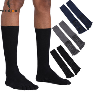 Image 1 - VERIDICAL Large size cotton Five Finger Socks man 3 pairs/lot solid non slip Athletic business party dress crew toe socks