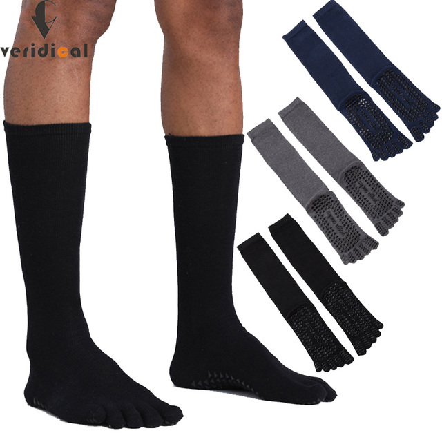 VERIDICAL Large size cotton Five Finger Socks man 3 pairs/lot solid non slip Athletic business party dress crew toe socks