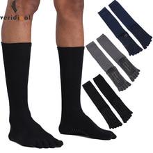 VERIDICALขนาดใหญ่ฝ้ายห้านิ้วถุงเท้าMan 3คู่/ล็อตSolid Non SlipพรรคธุรกิจCrew Toeถุงเท้า