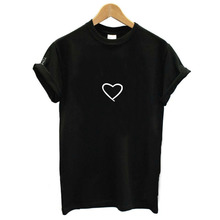 O-neck Geometric Embroidery Heart T-shirt Simple Casual Lady Preppy Style 2019  Korea Fashion Summer Women